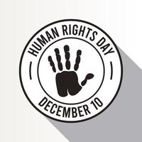 human rights day poster with hand print seal vector