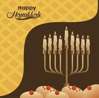 happy hanukkah celebration with candelabrum and breads vector