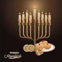happy hanukkah celebration with candelabrum and dreidels and food vector