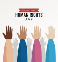 human rights day poster with interracial hands up vector