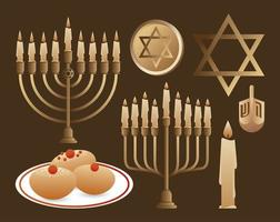 happy hanukkah celebration with candelabrums and set icons vector