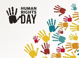 human rights day poster with hand color prints vector