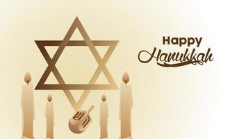 happy hanukkah celebration with jewish star and candles vector