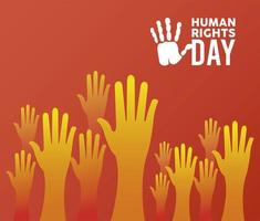 human rights day poster with hands up silhouette vector