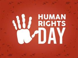 human rights day poster with hand print vector