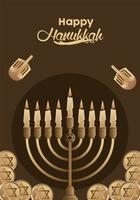 happy hanukkah lettering celebration with candelabrum and dreidels vector