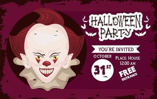 halloween horror party celebration poster with evil clown vector