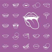mouth with tongue out and bundle of pop art mouths line style vector