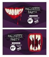 halloween horror party celebration poster with mouths evil vector