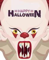 happy halloween horror celebration poster with clown evil and lettering vector