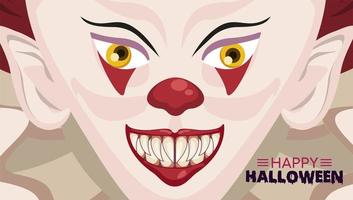 happy halloween horror celebration poster with clown evil vector