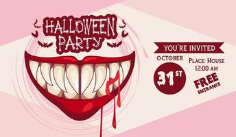 halloween horror party celebration poster with mouth and blood vector