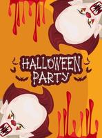 halloween horror party celebration poster with clowns and blood vector