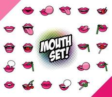 bundle of twenty two pop art mouths fill style icons vector