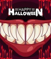 happy halloween horror celebration poster with monster mouth and blood vector