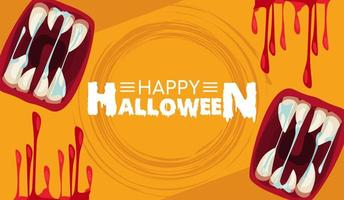 happy halloween horror celebration poster with mouths and blood vector