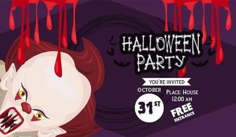 halloween horror party celebration poster with clown and blood vector