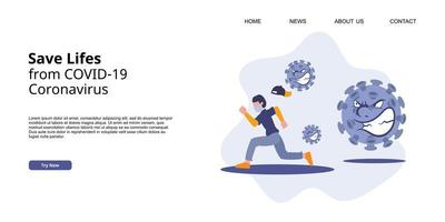 Coronavirus COVID-19 landing page campaign. A man running from virus attack. vector