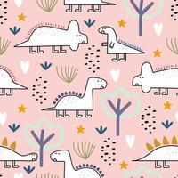 dinosaurio de patrones sin fisuras, ilustración vectorial con colores pastel de dibujo infantil. lindos personajes de monstruos en la jungla. vector