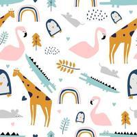 Safari de patrones sin fisuras con flamencos, cocodrilos, jirafas, ratas y pingüinos. vector