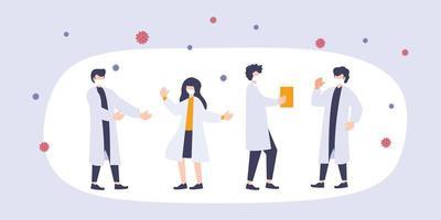 grupo de jóvenes científicos hablando sobre la vacuna del nuevo coronavirus 2019-ncov. discusión e investigación de hombres y mujeres sobre el brote de virus. vector