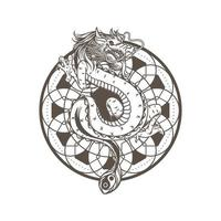 Dragon drawing vector illustration, ancient mandala spiritual. Snake asian dragon monster. Mythology animal character isolated on white background.