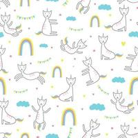 gato unicornio de patrones sin fisuras. estilo de dibujo infantil de moda. vector