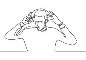 Retrato de hombre en auriculares - un dibujo de línea continua vector