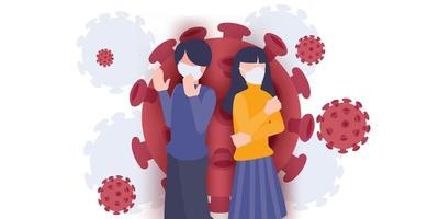 2019-ncov banner with coronavirus background. Figure of man and women wearing mask. Flat cartoon vector illustration. Person praying for pandemic outbreak.