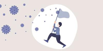 Coronavirus 2019-nCoV metaphor flat illustration. Vector of a man trying catch virus in the air with net stick.