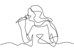 A girl singing lovely song. One line continuous. vector