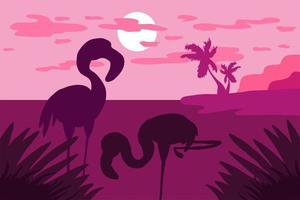 paisaje tropical con flamencos, palmeras y sol. vector