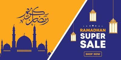 Plantilla de banner web de venta de Ramadán. La silueta de la mezquita y la caligrafía árabe significan santo ramadán.
