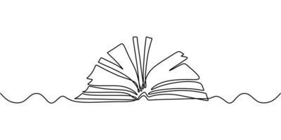 dibujo de una línea, libro abierto. Ilustración de objeto vectorial, diseño de boceto dibujado a mano minimalismo. concepto de estudio y conocimiento. vector