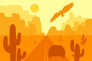 Desert landscape with eagle, cactus and sun. Vector