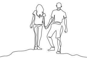 dibujo de línea continua. pareja romántica cogidos de la mano. diseño de concepto de tema de amantes. minimalismo dibujado a mano. metáfora de la ilustración de vector de amor, aislado sobre fondo blanco.