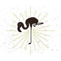 Retro flamingo silhouette vector