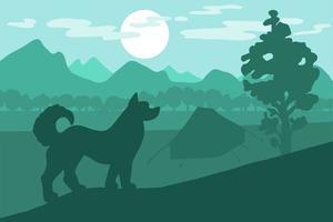 perro en el camping vector