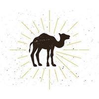 logotipo de silueta de camello retro vector