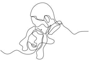dibujo de una línea de pareja enamorada. retrato de hombre y mujer en relación. vector