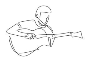 Person sings a song with acoustic guitar. Young happy male guitarist. Musician artist performance concept single line draw design illustration.