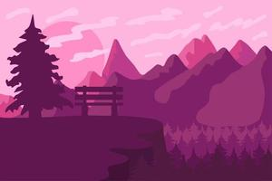 Park bench in the coniferous forest vector