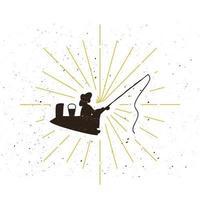 Retro fisher silhouette logo vector