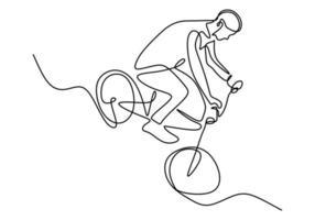 Un solo dibujo de línea continua de un ciclista joven muestra un truco de riesgo extremo de estilo libre. vector