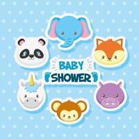 tarjeta de baby shower con lindos animales vector
