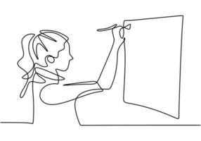 Artist painting picture black linear sketch isolated on white background. Painter in continuous line art drawing style. vector