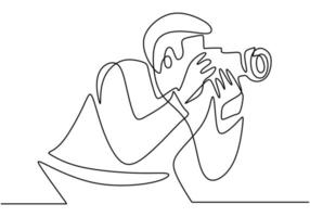 Young tourist man photographer with a camera takes pictures. Taking natural view. Photography concept vector minimalist design.