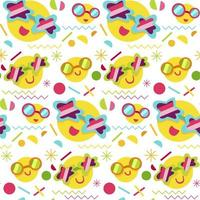 Fashion memphis bright seamless pattern with smiles vector