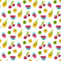 sabroso y dulce patrón de arte de frutas de verano vector