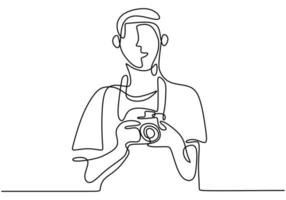 fotógrafo de hombre con su cámara. listo para tomar fotos. fotógrafo dibujado línea continua. ilustración vectorial vector